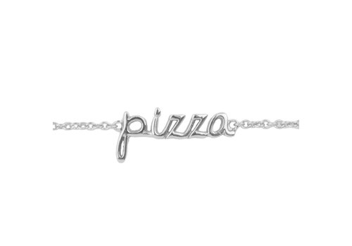 All the Luck in the World Armband Pizza zilver