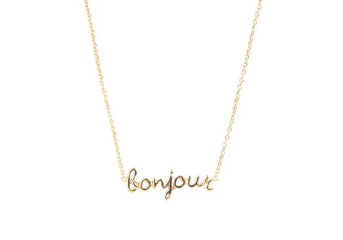 All the luck in the world Ketting Bonjour 18K goud