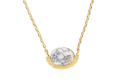 All the Luck in the World Galaxy Goldplated Necklace Moon A White Howlite