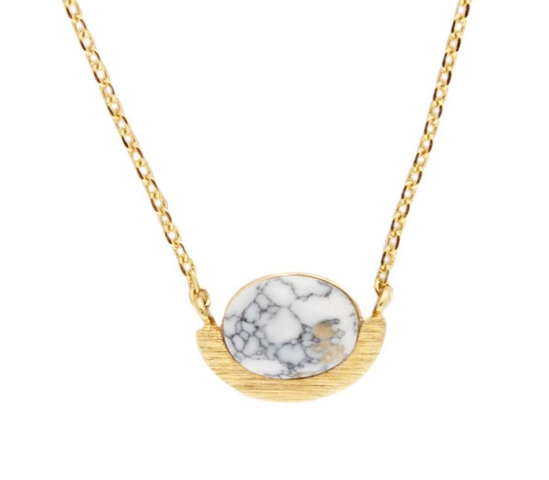 Necklace Moon A White Howlite gold