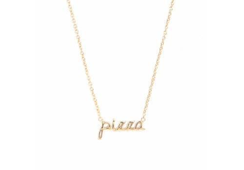 All the Luck in the World Ketting Pizza 18K goud