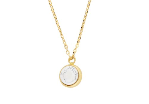All the Luck in the World Ketting Globe White Howlite goud