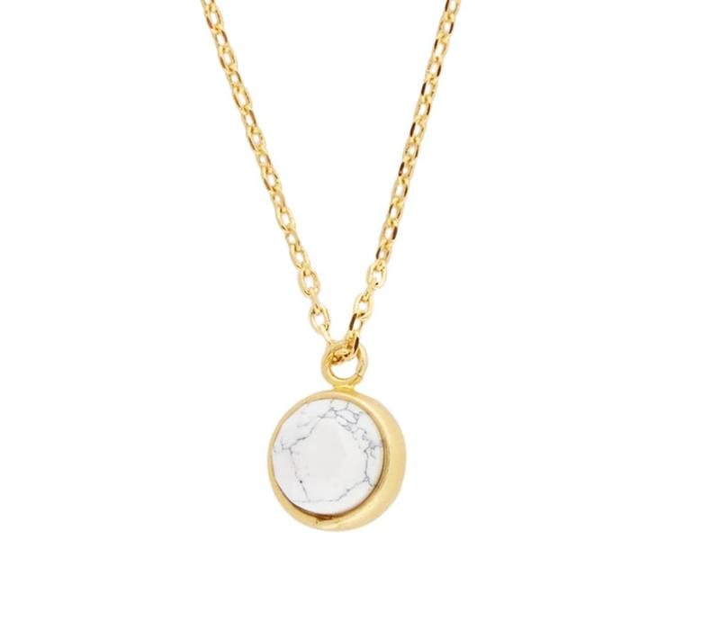 Necklace Globe White plated