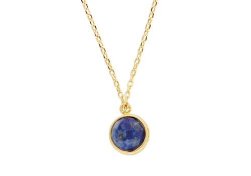 All the Luck in the World Galaxy Goldplated Necklace Globe Blue Lapis Lazuli