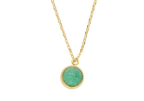 All the Luck in the World Galaxy Goldplated Necklace Globe Green Chrysoprase