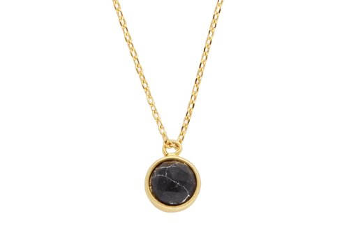 All the Luck in the World Galaxy Goldplated Ketting Globe Black Howlite