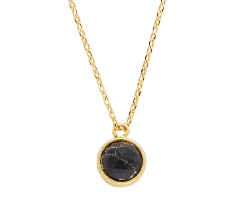 Ketting Globe Black Howlite goud
