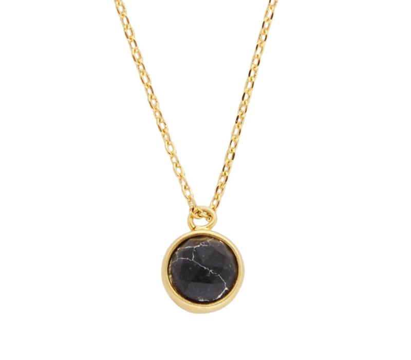 Necklace Globe Black Howlite gold