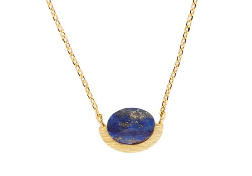 All the luck in the world Ketting Moon A Blue Lapis Lazuli goud