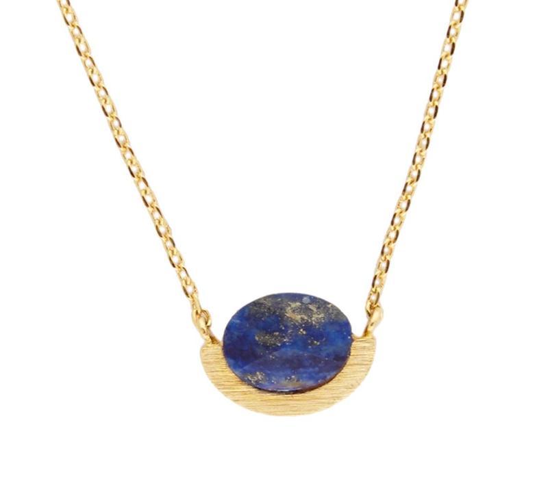 Galaxy Goldplated Ketting Moon A Blue Lapis Lazuli