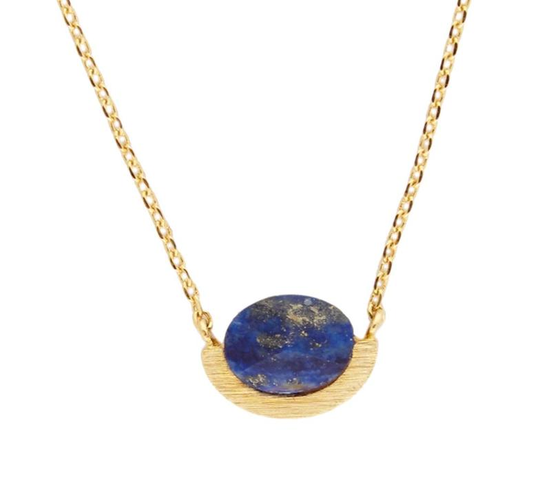 Necklace Moon A Blue Lapis Lazuli plated