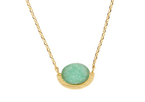 All the Luck in the World Galaxy Goldplated Ketting Moon A Green Chrysoprase