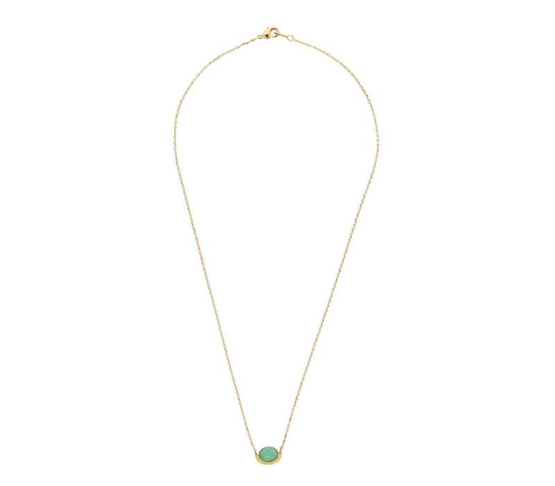 Necklace Moon A Green Chrysoprase gold