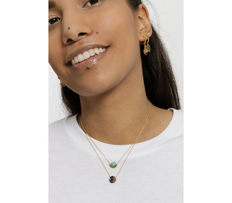 Galaxy Goldplated Necklace Moon A Green Chrysoprase