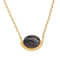 Galaxy Goldplated Necklace Moon A Black Howlite