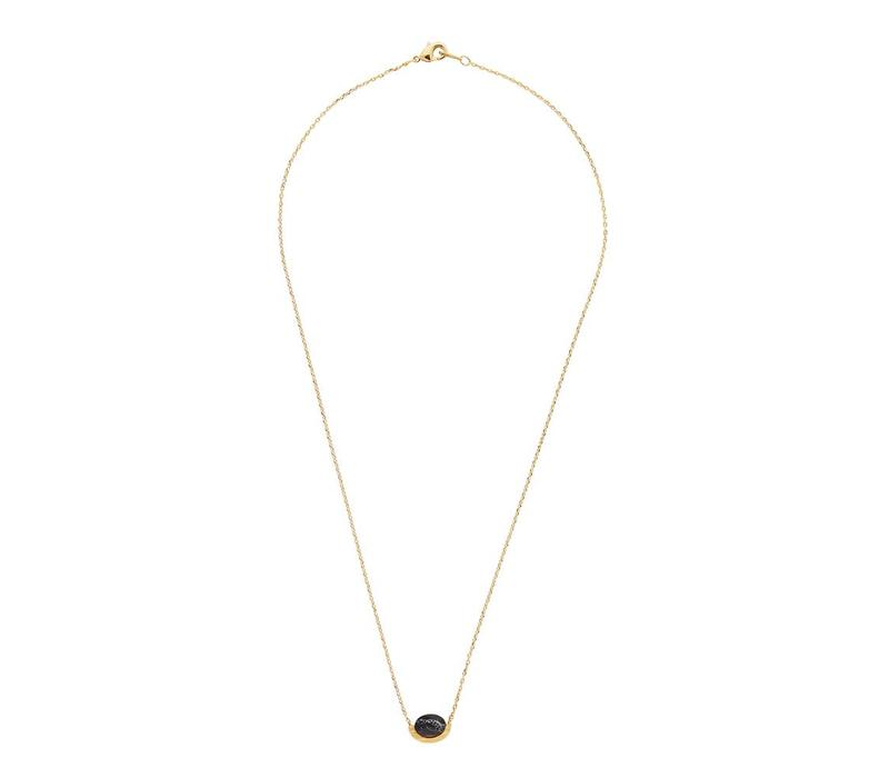 Galaxy Goldplated Ketting Moon A Black Howlite