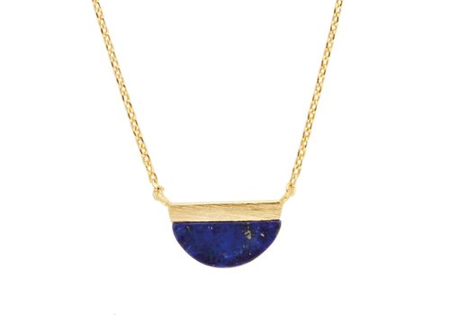 All the Luck in the World Galaxy Goldplated Necklace Moon B Blue Lapis Lazuli