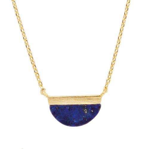 Galaxy Goldplated Ketting Moon B Blue Lapis Lazuli