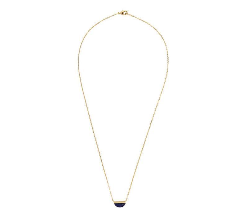 Galaxy Goldplated Necklace Moon B Blue Lapis Lazuli