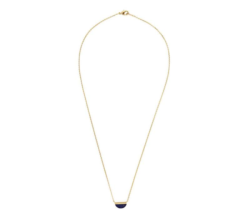 Necklace Moon B Blue Lapis Lazuli gold