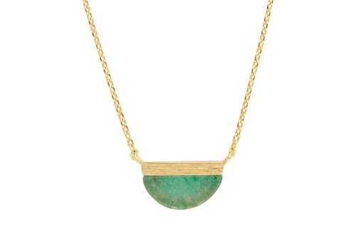 All the Luck in the World Galaxy Goldplated Necklace Moon B Green Chrysoprase