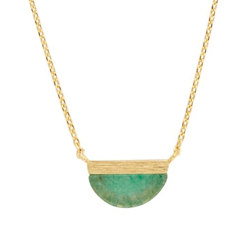 Ketting Moon B Green Chrysoprase goud