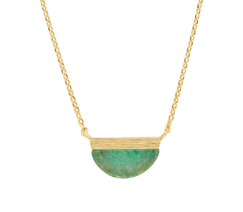 Necklace Moon B Green Chrysoprase plated