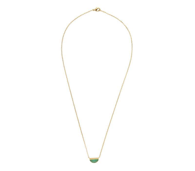 Ketting Moon B Green Chrysoprase goud