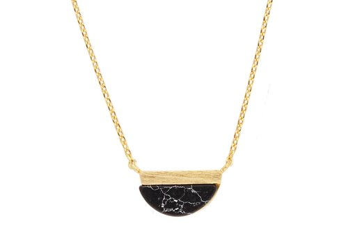 All the Luck in the World Galaxy Goldplated Necklace Moon B Black Howlite