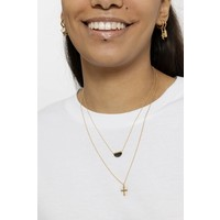 Ketting Moon B Black Howlite goud