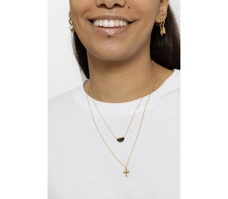 Galaxy Goldplated Necklace Moon B Black Howlite