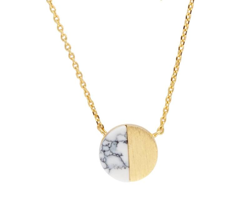 Necklace Moon C White Howlite gold