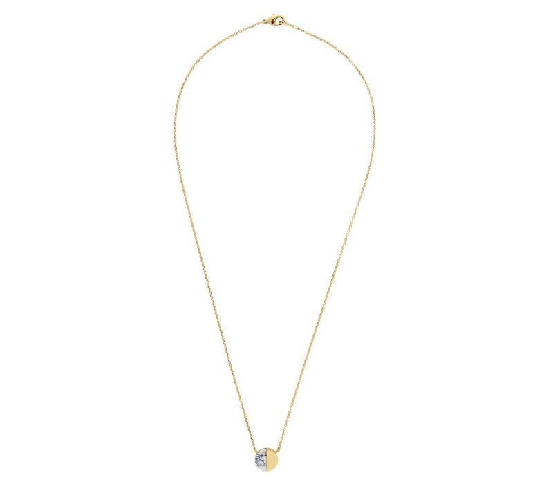 Ketting Moon C White Howlite goud