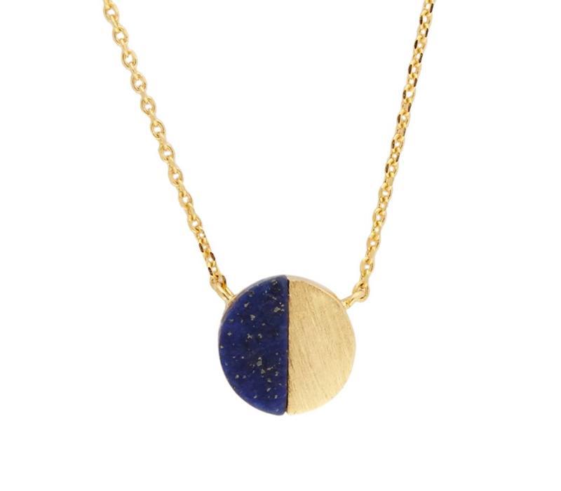 Galaxy Goldplated Ketting Moon C Blue Lapis Lazuli