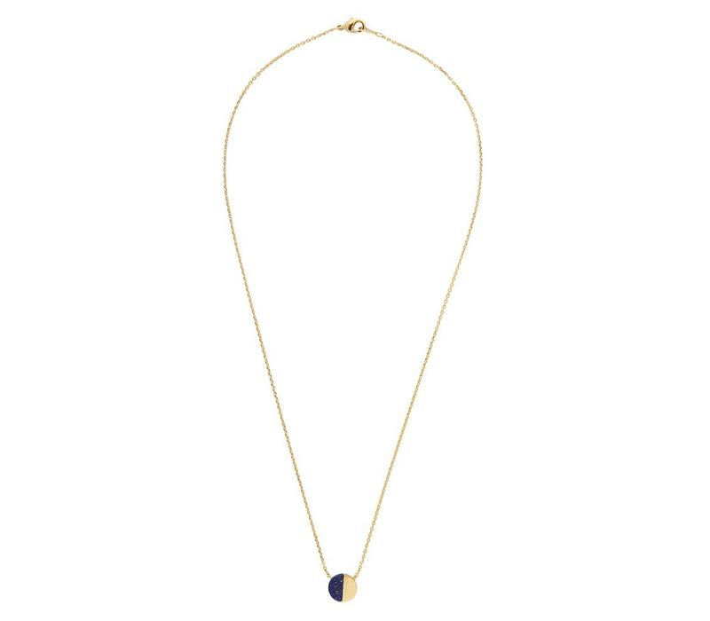 Galaxy Goldplated Necklace Moon C Blue Lapis Lazuli