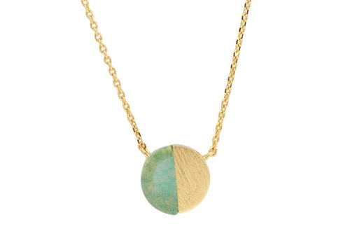 All the Luck in the World Galaxy Goldplated Necklace Moon C Green Chrysoprase