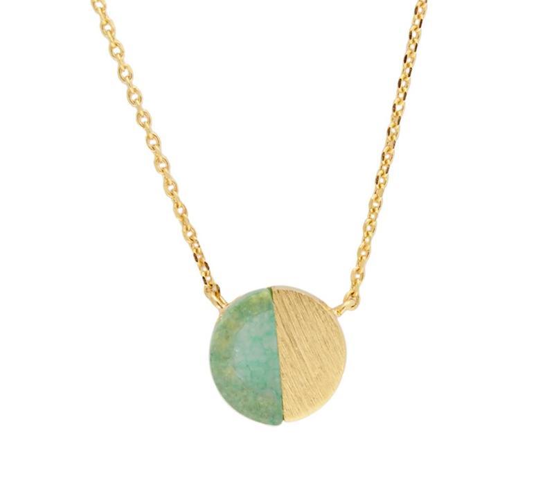 Ketting Moon C Green Chrysoprase goud