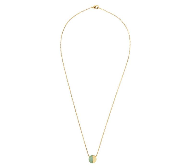 Galaxy Goldplated Ketting Moon C Green Chrysoprase