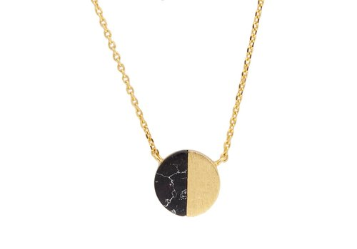 All the Luck in the World Galaxy Goldplated Necklace Moon C Black Howlite