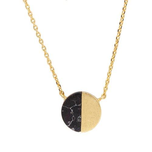 Galaxy Goldplated Ketting Moon C Black Howlite