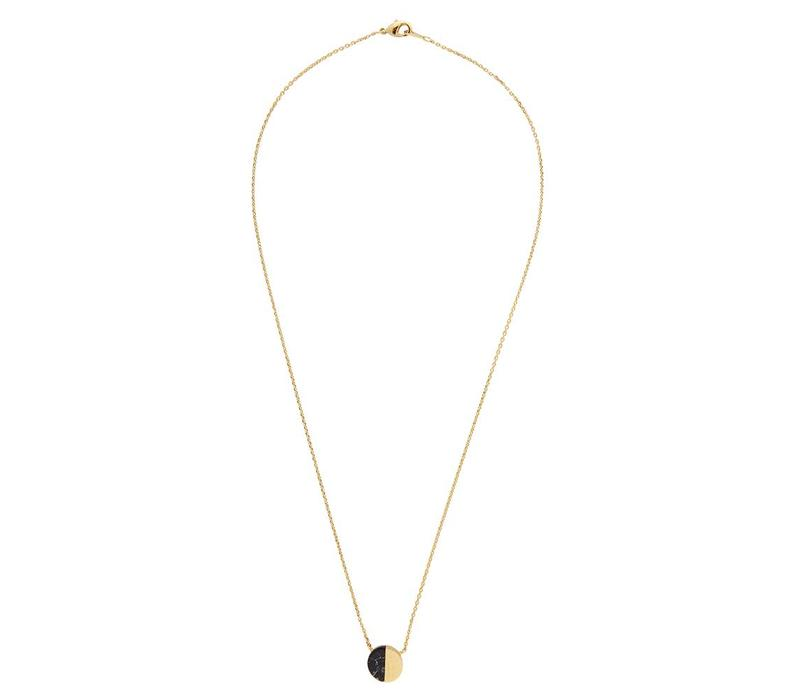 Necklace Moon C Black Howlite gold