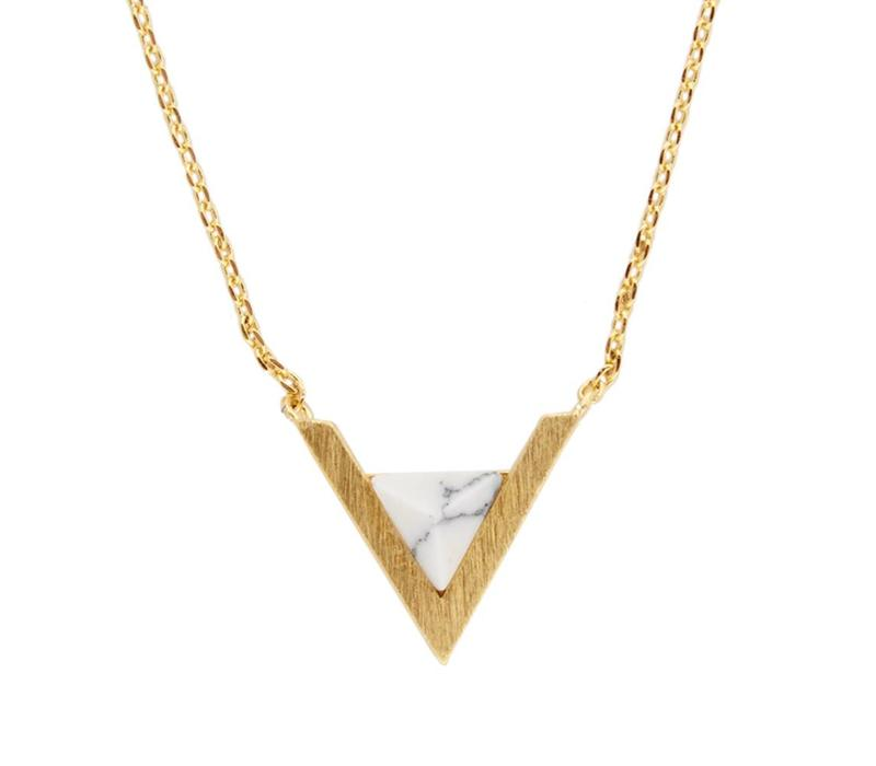 Galaxy Goldplated Ketting Triangle A White Howlite