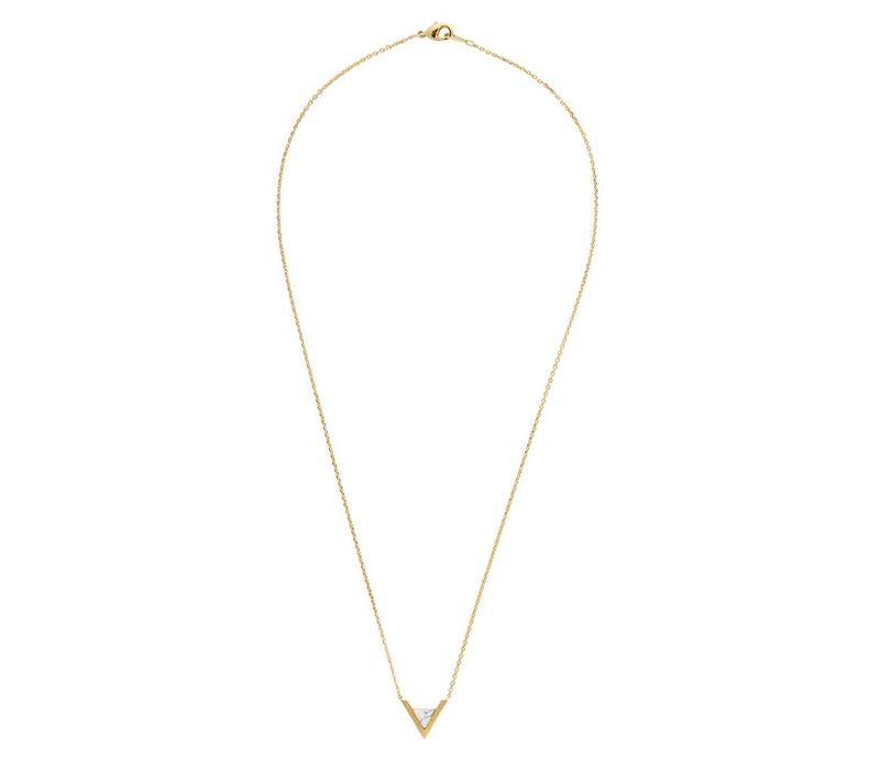 Ketting Triangle A White Howlite goud