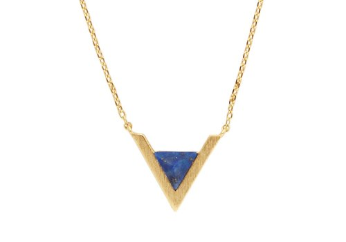 All the Luck in the World Necklace Triangle A Blue Lapis Lazuli gold