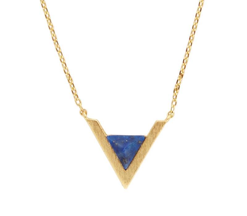 Ketting Triangle A Blue Lapis Lazuli goud