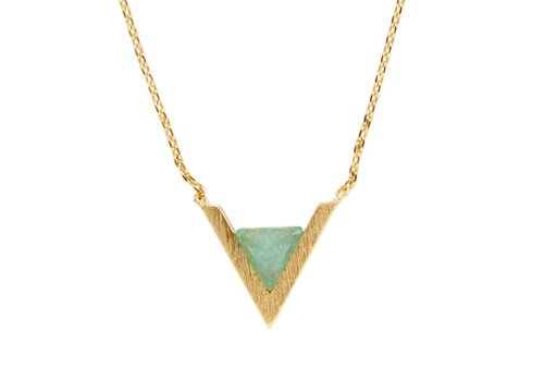 All the Luck in the World Galaxy Goldplated Necklace Triangle A Green Chrysoprase
