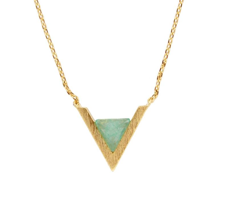 Ketting Triangle A Green Chrysoprase verguld