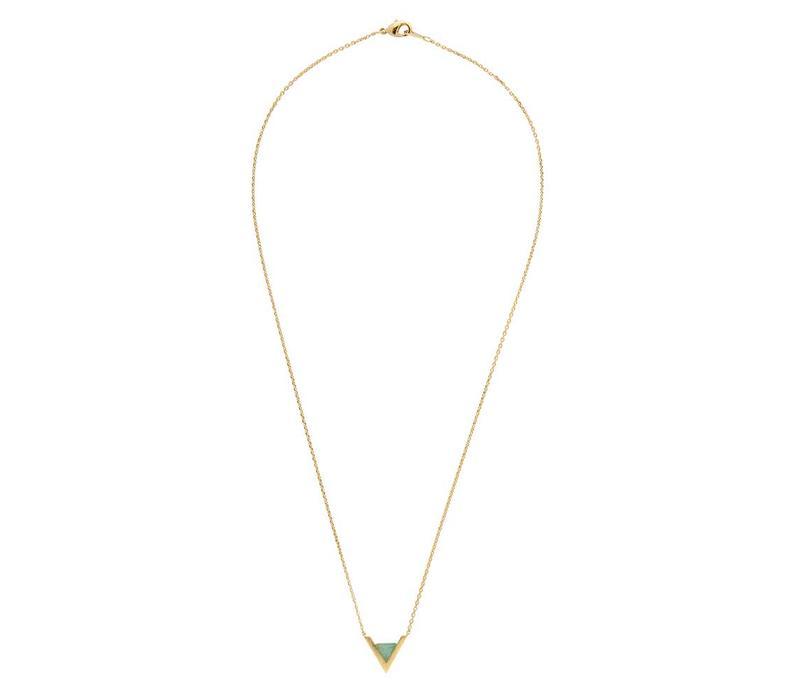 Ketting Triangle A Green Chrysoprase goud