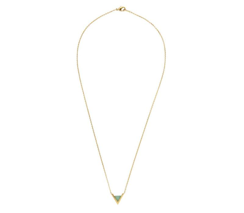 Necklace Triangle A Green Chrysoprase gold