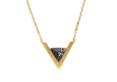 All the Luck in the World Galaxy Goldplated Necklace Triangle A Black Howlite